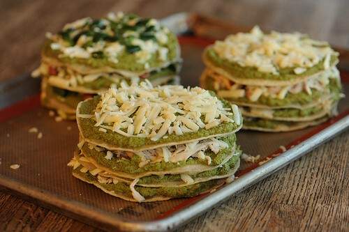Chicken Enchilada Stacks with Pumpkin Seed Mole