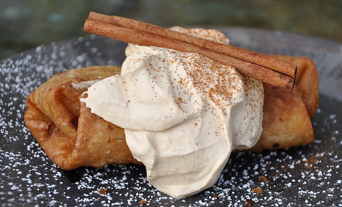 Apple Pie Chimichanga with Caramel Whipped Cream