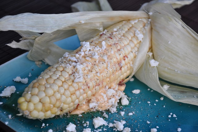 Grilled Corn on the Cob Recipe with Chipotle Butter and Cotija Cheese
