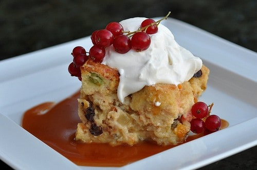 Christmas Stollen Bread Pudding Recipe with Whipped Cream and Caramel Sauce