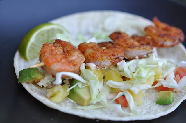 Assembled and Plated Grilled Shrimp Taco with BBQ Dry Rub