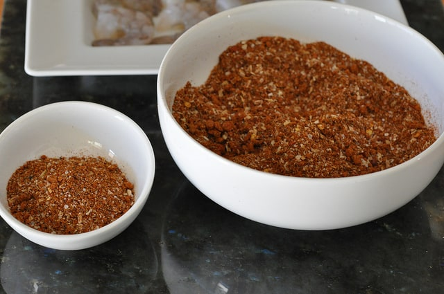Separate the spices for Grilled Shrimp Tacos with BBQ Rub