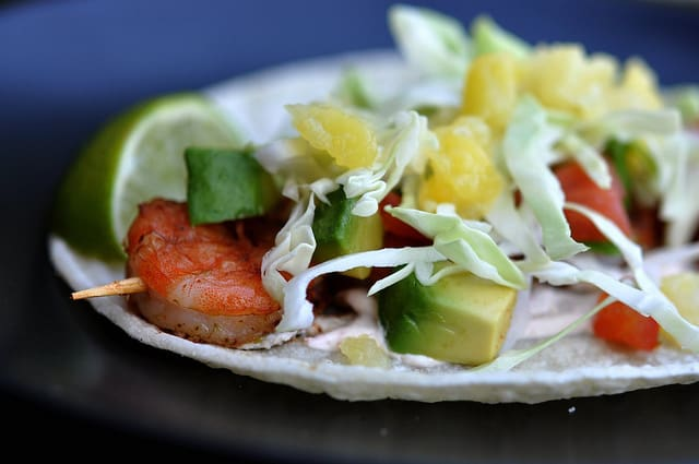 Grilled Skewer in a Taco with Pineapple and Avocado