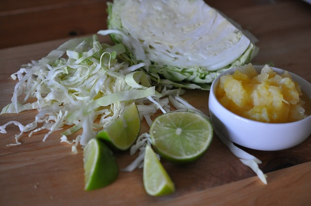 Chopped Ingredients for Grilled Shrimp Tacos with BBQ Dry Rub