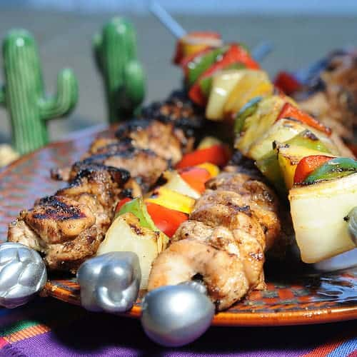Grilled Chicken Fajitas on a Stick or Kebob