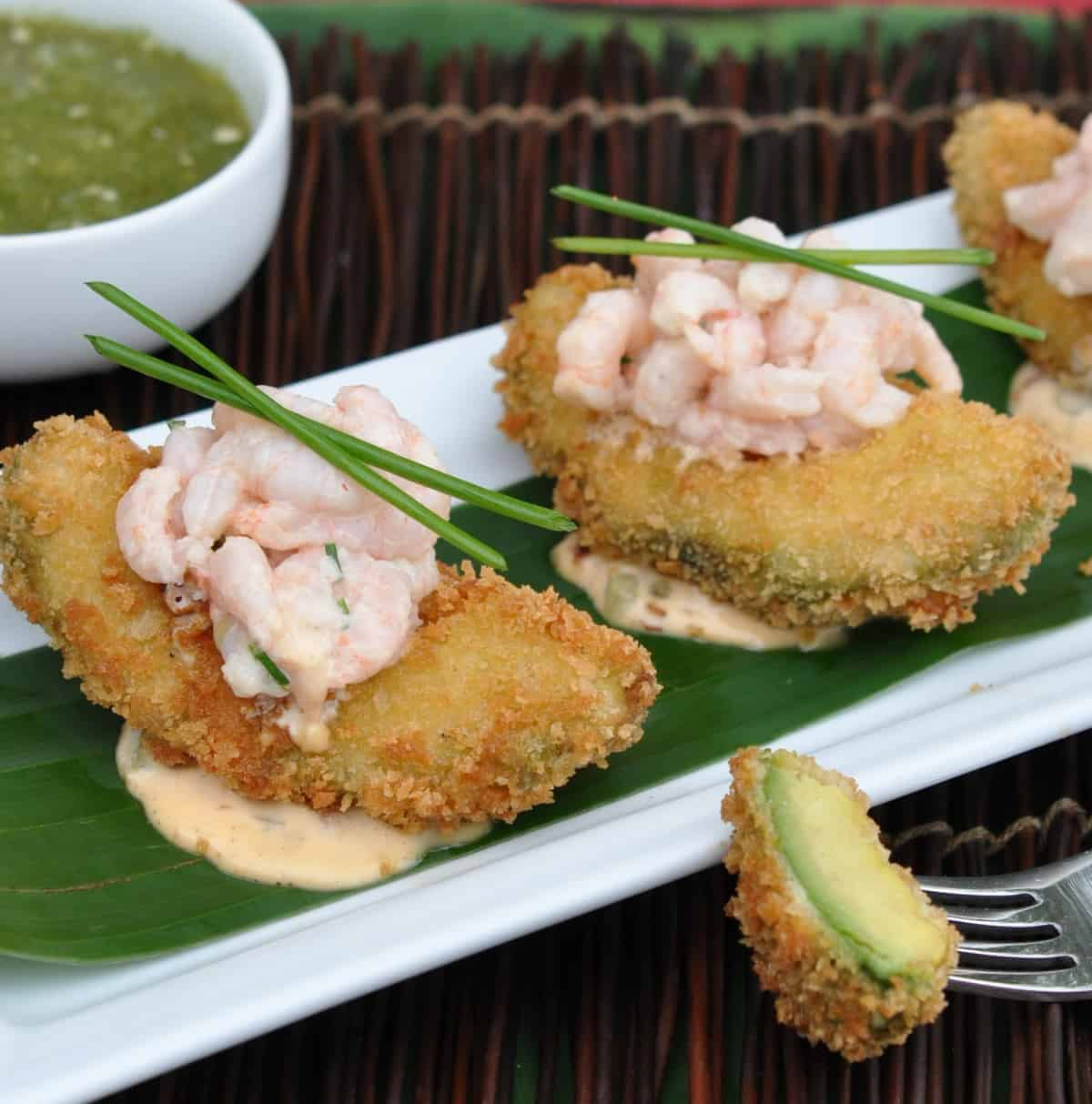 Fried Avocado with Spicy Shrimp Salad Recipe