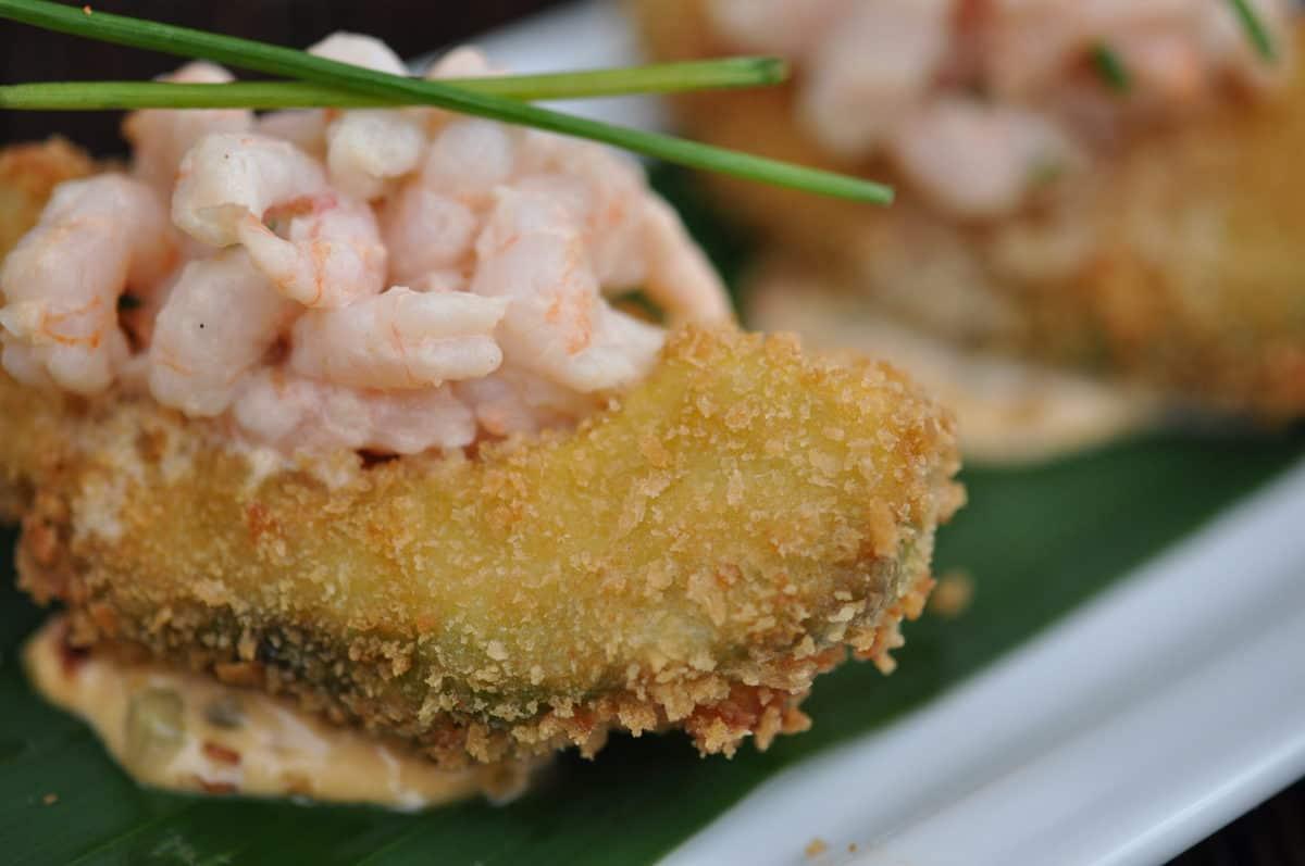 Spicy Shrimp Salad on Fried Avocado Recipe