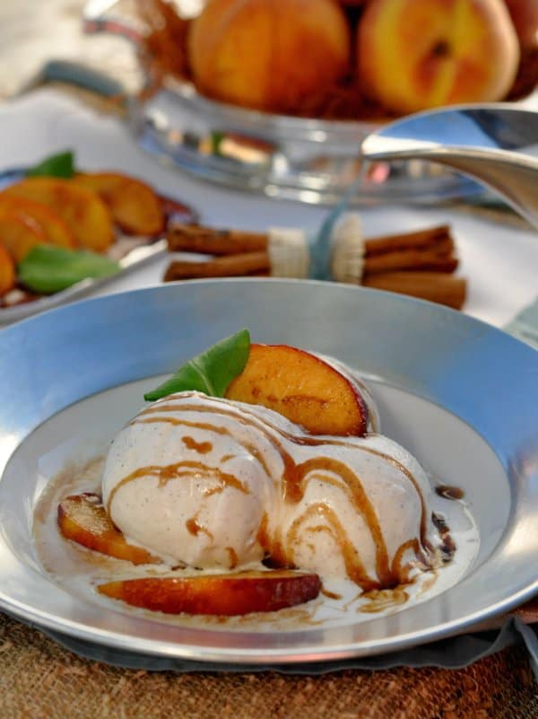 Warm Peaches Foster with Vanilla Bean Buttermilk Ice Cream Recipe