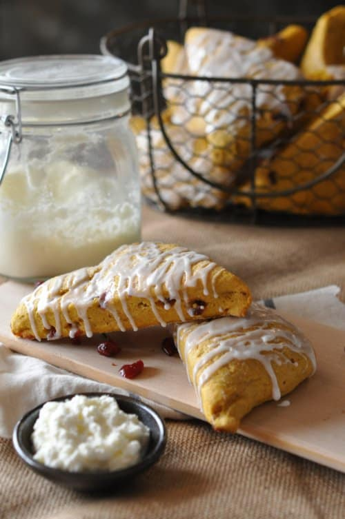 Pumpkin Spice Cranberry Scone Recipe with Homemade Butter