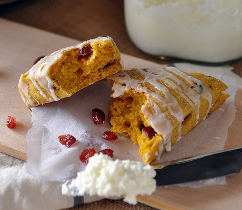 Inside view of Pumpkin Spice Cranberry Scone Recipe with Homemade Butter