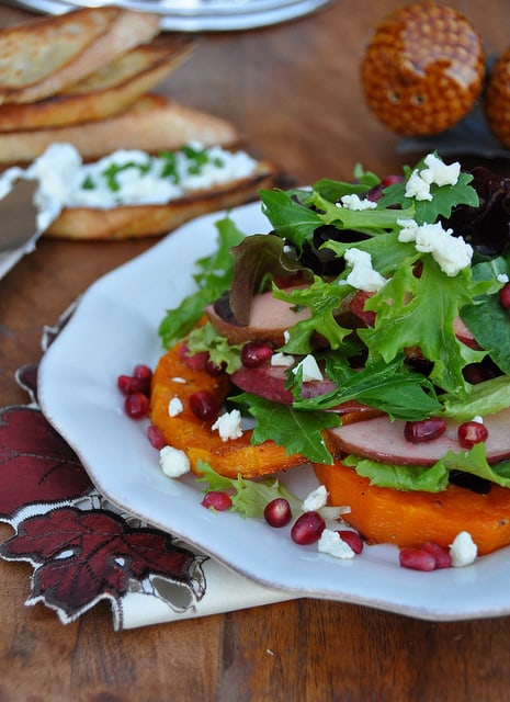 Roasted Butternut Squash Salad with Cranberry Vinaigrette