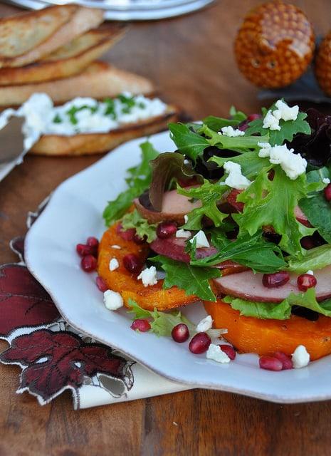 Roasted Butternut Squash Salad with Cranberry Vinaigrette