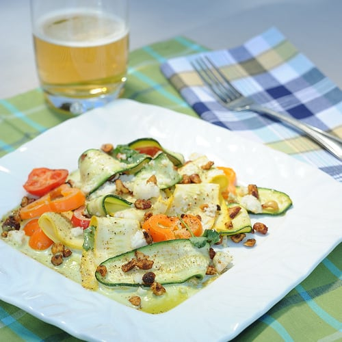 Shaved Summer Squash Salad with Jalapeno Vinaigrette and Spiced Pecans Recipe