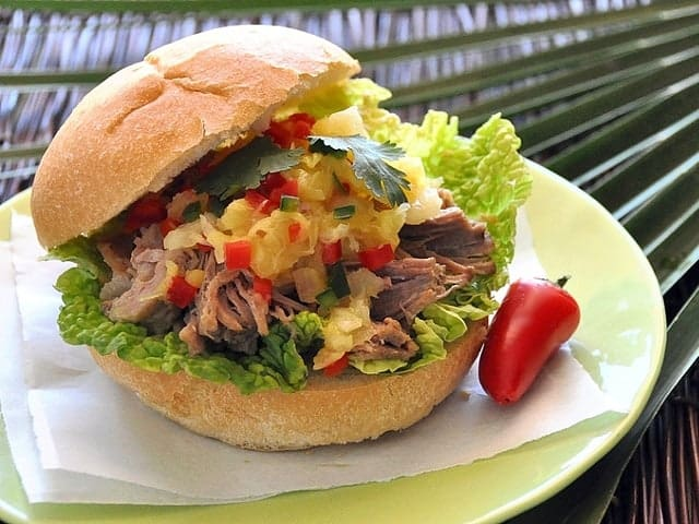 Kalua Pork Sandwich with Pineapple Salsa Recipe-a Slow Cooker Recipe!