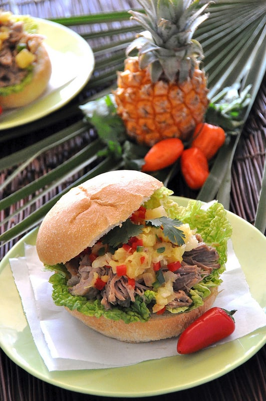 Kalua Pork Sandwich with Pineapple Salsa
