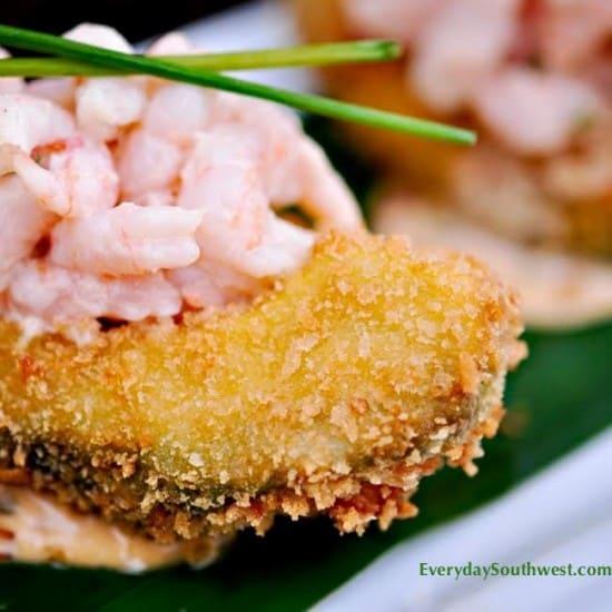 Fried Avocado with Chipotle Shrimp Salad