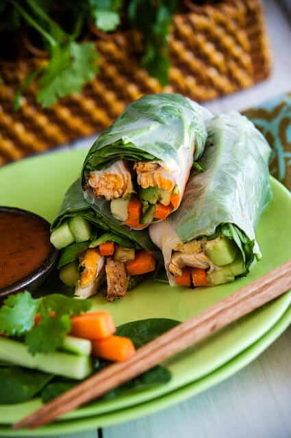 image Grilled Chicken Summer Rolls with Carrot Salad