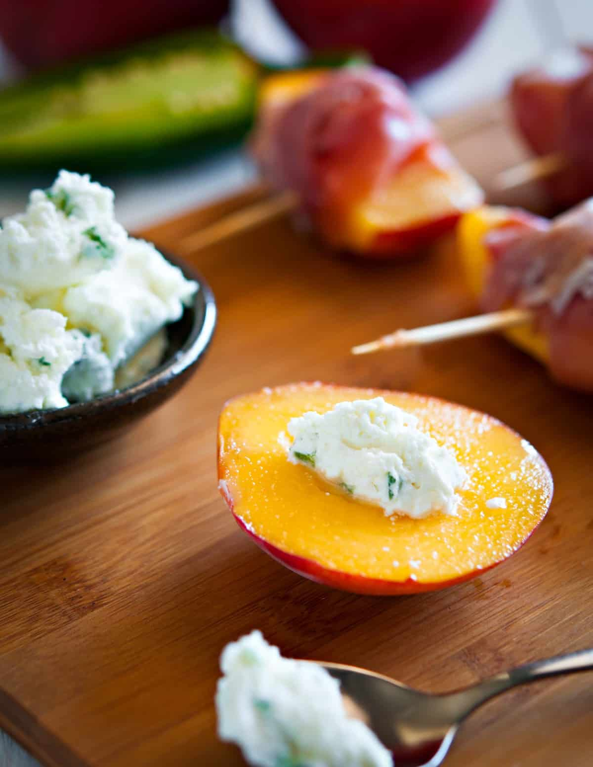 image ingredients peach salad prosciutto goat cheese