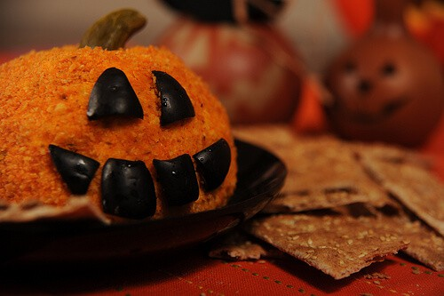 image easy Halloween recipe Jack-o-lantern cheese ball