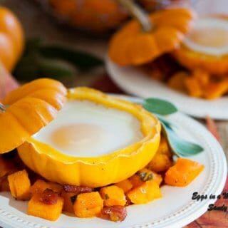 Eggs in a Pumpkin with Bacon Hash