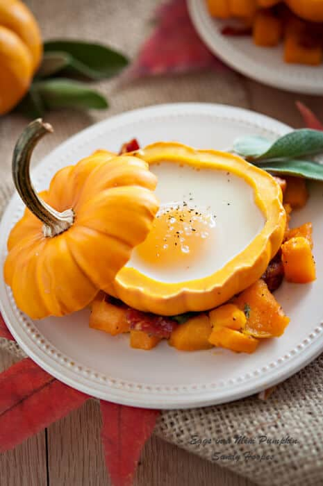 image Egg in Mini Pumpkin with Bacon Squash Hash