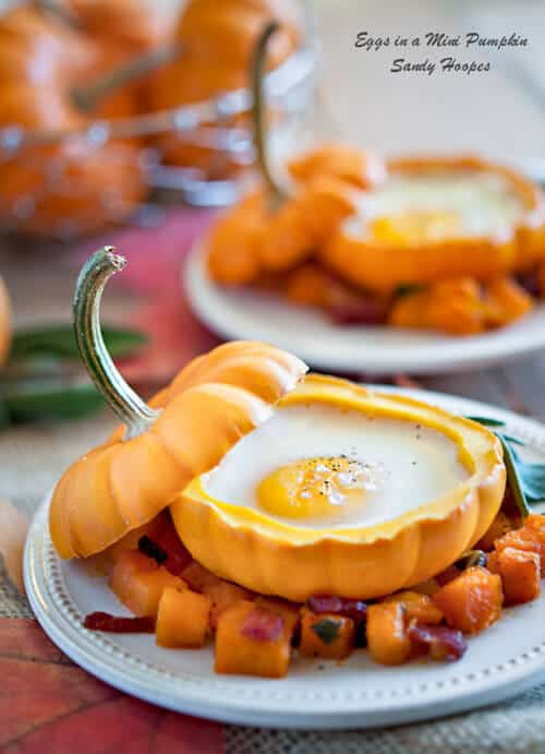 image Eggs in Mini Pumpkins with Bacon Squash Hash Recipe
