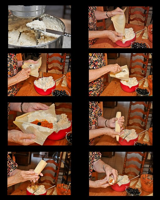 Step by step photos of how to make Mexican tamales