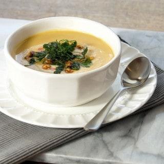 Chick Pea Soup Recipe with Crispy Cilantro Garnish