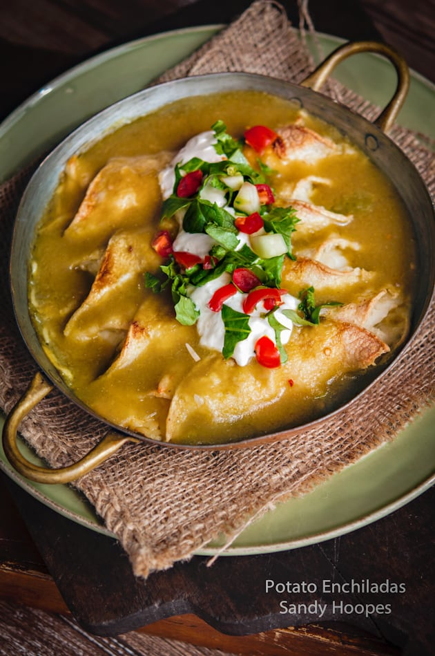 image Potato Enchiladas  Green Chile Tomatillo Sauce Recipe-