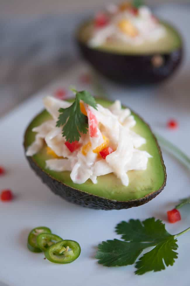 Baja Crab Stuffed Avocado Recipe Pictures to pin on Pinterest