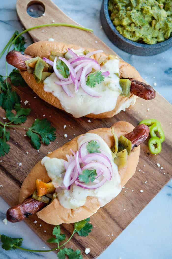 Green Chile Cheese Hot Dogs