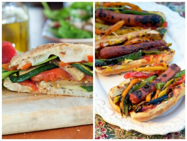 Grilled Vegetable Sandwich and Fajita Hot Dogs