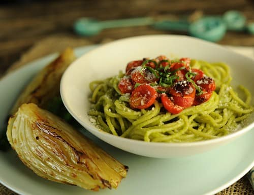 Spaghetti with Creamy Avocado Pesto and Roasted Tomatoes Plus a Pasta Recipe Round-Up