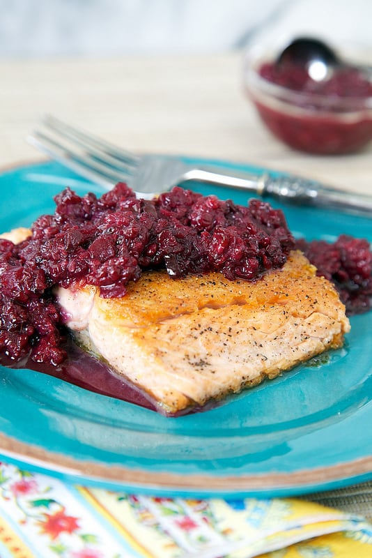 Spicy Blackberry Chutney topped Salmon