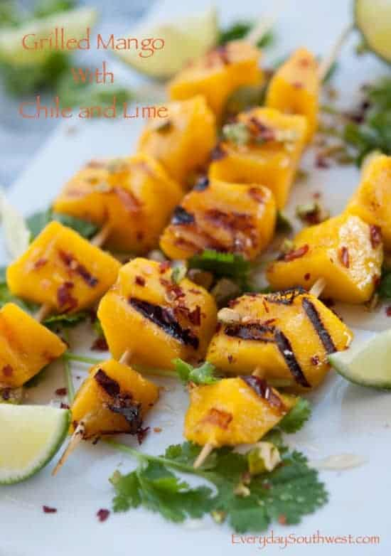Grilled Mango Skewers with Honey Chile and Lime
