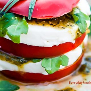 Caprese Salads Stacks with Green Chile Pesto