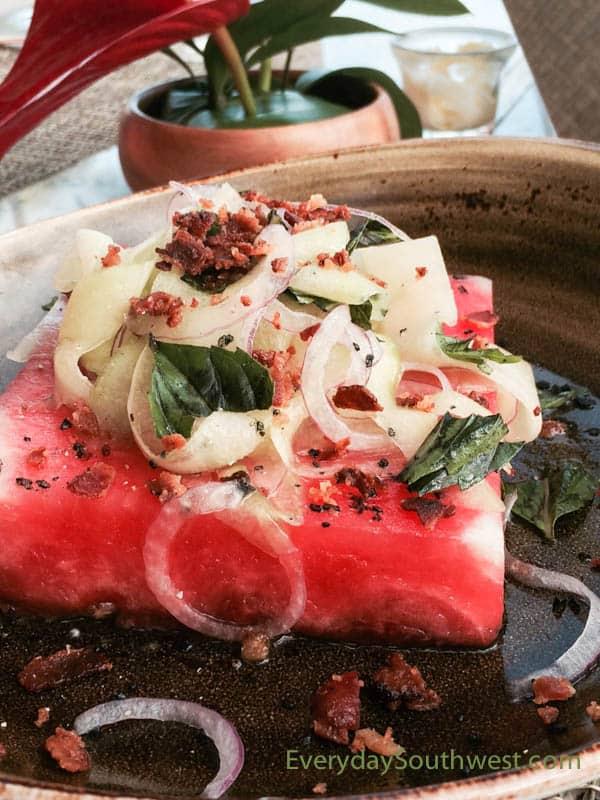 Watermelon Bacon Salad Recipe from the Halekulani