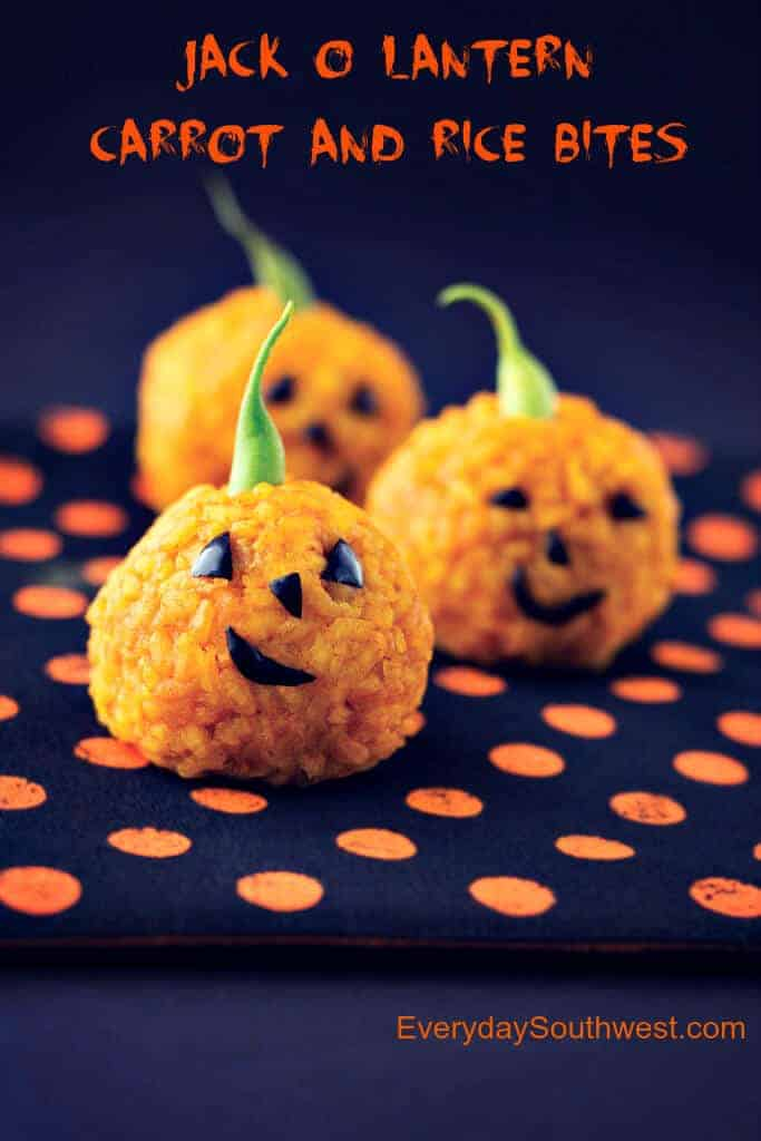 Jack O Lantern Carrot and Rice Bites Healthy Halloween Snacks