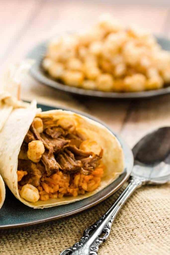 Burritos! Posole Burrito A Slow Cooker Recipe