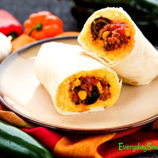 Tamale Pie Burritos with Ground Beef and Polenta