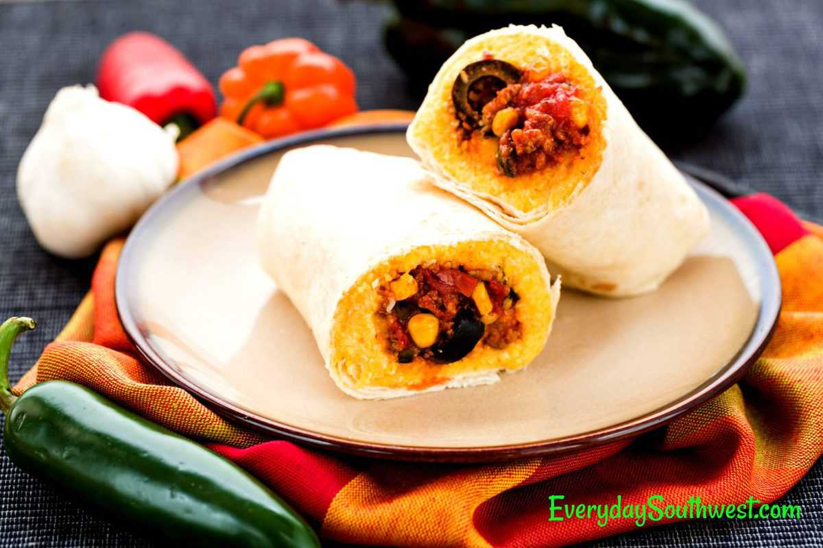 Tamale Pie Burritos with Ground Beef