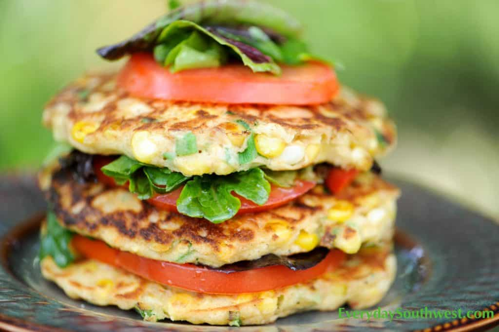 Grilled Corn Cake Tomato Chile Stack