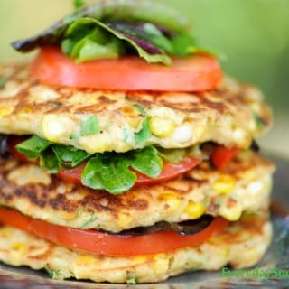 Corn Cake Stacks with Tomatoes and Chile