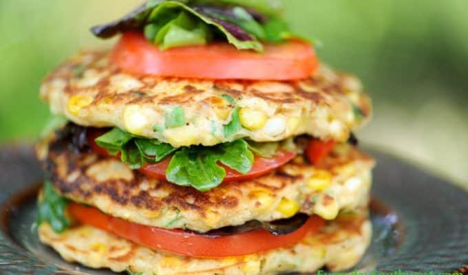 Grilled Corn Cake Salad Stack Recipe