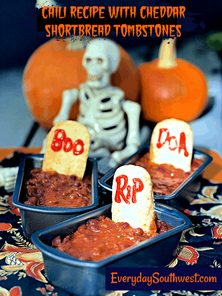 Halloween Chili with Cheddar Shortbread Tombstones