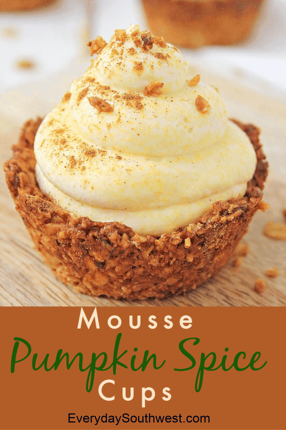 Pumpkin Spice Mousse Cups with Nutty Oat Crust