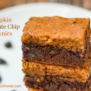 Pumpkin Brownies with Chocolate Chips