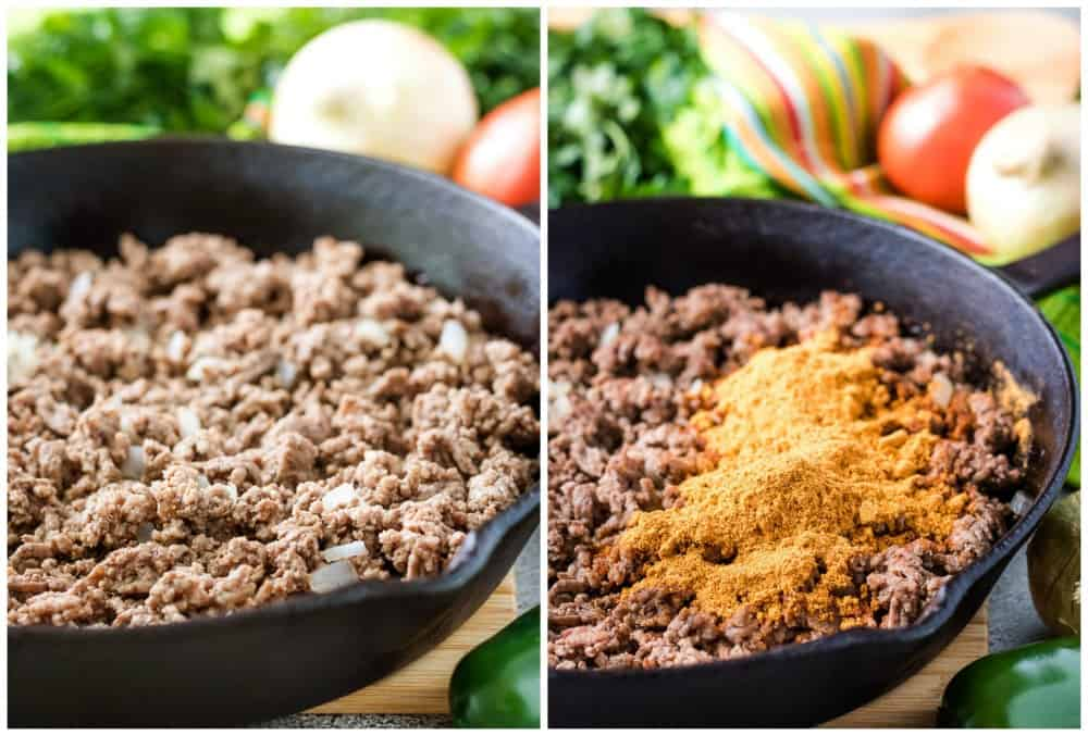 Cooked ground beef taco meat with spices