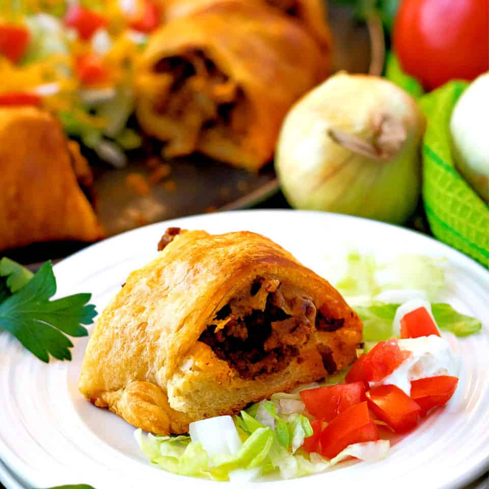 Ground Beef Taco Meat in flakey Crescent Rolls