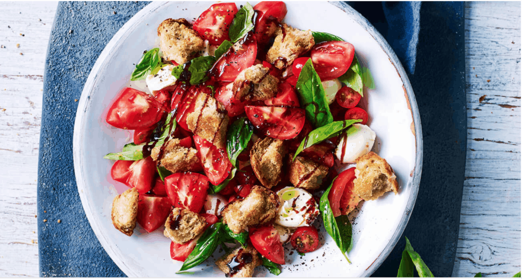 Caprese Salad with Hot Cross Bun Crouton